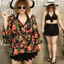 Goldlyre - Set: Swim Top + Skirt + Floral Cover