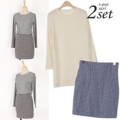Ho Shop - Set: Slit-Side Long Knit Top + High-Waist Patterned Miniskirt