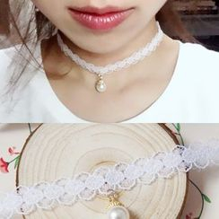 KOSUKE - 珠饰蕾丝项链