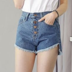 Angel Shine - High-Waist Denim Shorts