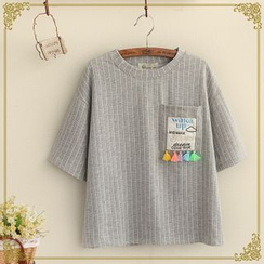 Fairyland - Tasseled Striped Crewneck T-Shirt