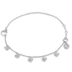 MBLife.com - Left Right Accessory - 9K/375 White Gold Dangling Heart Anklet (23cm)