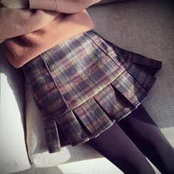 Munai - Pleated Plaid Skirt