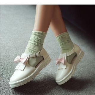 Freesia - Lolita Cosplay Fringed Bow Buckled Flats