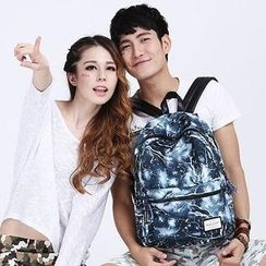 Mr.ace Homme - Printed Canvas Couple Backpack