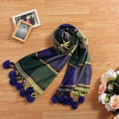 Blue Hat - Pompom-Accent Plaid Scarf