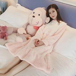 Ashlee - Long-Sleeve Lace Panel Pajama Dress