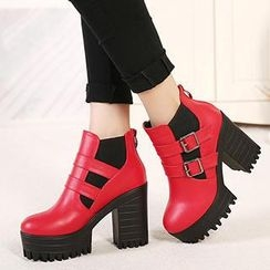 Mancienne - Buckled Chunky Heel Ankle Boots