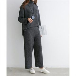 PEPER - Set: Mock-Neck Drop-Shoulder Knit Top + Band-Waist Knit Pants