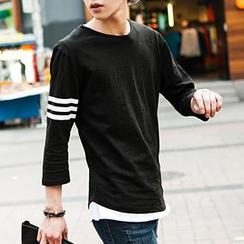 TOMONARI - Round-Neck 3/4-Sleeve T-Shirt
