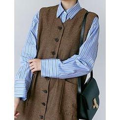 FROMBEGINNING - Pocket-Front Stripe Shirt