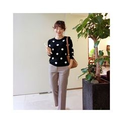 LEELIN - Crewneck Polka-Dot Knit Top