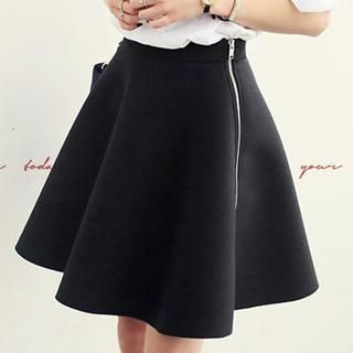 NANING9 - Side-Zip A-Line Skirt