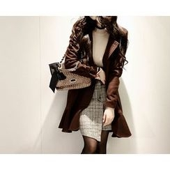 Marlangrouge - Ruffle-Hem Wool Blend Trench Coat