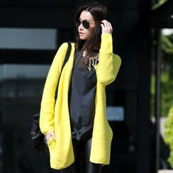 SO Central - Wool-Blend Open-Front Knit Cardigan with Sash
