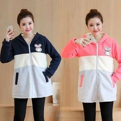 Soswift - Maternity Rabbit Applique Color Panel Hooded Jacket
