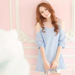 Tokyo Fashion - Off-Shoulder Sheer Gingham Top