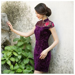 Janelle Qipao - Floral Print Lace Panel Short Cheongsam