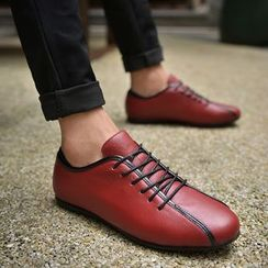 Easy Steps - Genuine-Leather Lace-Up Casual Shoes