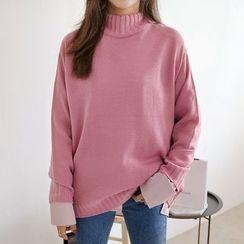 Seoul Fashion - Mock-Neck Long-Sleeve Sweater
