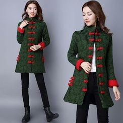 Diosa - Jacquard Mandarin Collar Long Padded Jacket
