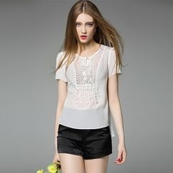 Y:Q - Lace Panel Short-Sleeve Top