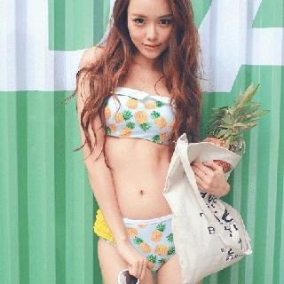 Zeta Swimwear - Pineapple Print Ruffle Bikini