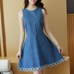 Cobogarden - Sleeveless Denim A-Line Dress