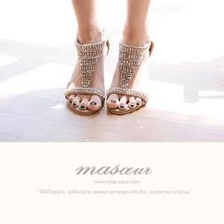 MASoeur - Beaded-Accent Wedge Sandals