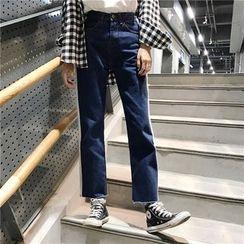 Suyisoda - 配色边宽脚牛仔裤