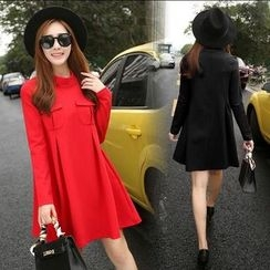 Lovebirds - Long-Sleeve Pocket-Accent A-Line Dress