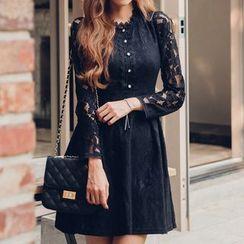 Fashion Street - Long Sleeve A-Line Lace Dress