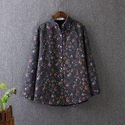 Blue Rose - Floral Print Fleece Lined Long-Sleeve Shirt