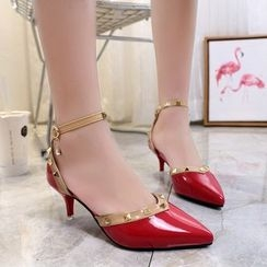 IYATO - Pointy-Toe Studded Kitten-Heel Sandals