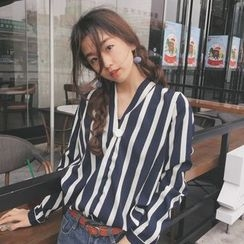 Bloombloom - Striped V-Neck Blouse