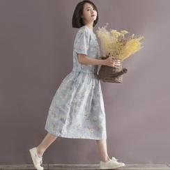 GLIT - Short-Sleeve Floral Linen Midi Dress