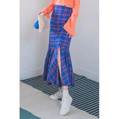 migunstyle - Ruffle-Hem Checked Midi Skirt