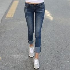 CHICFOX - Washed Slim-Fit Jeans