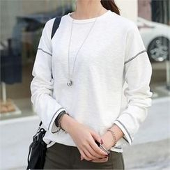CHICFOX - Long-Sleeve Seam-Detail T-Shirt