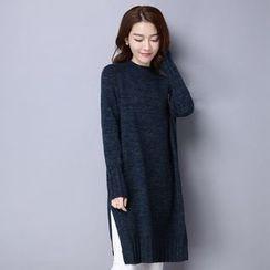 Romantica - Slit-Side Melange Knit Dress