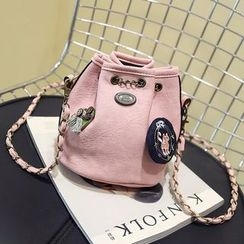 Youme - Patch Detailed Bucket Crossbody Bag