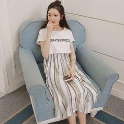 Ceres - 孕婦條紋哺乳連衣中裙