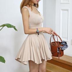 DABAGIRL - Sleeveless Ruffled Knit A-Line Mini Dress