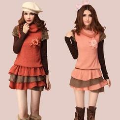 Kaven Dream - Set:  Long-Sleeve Top + Turtleneck Tiered Minidress
