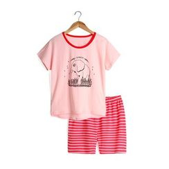 Yobaby - Kids Pajama Set: Elephant Print Short-Sleeve T-Shirt + Stripe Shorts