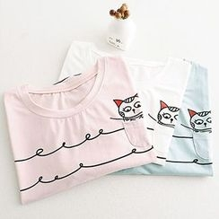 Angel Love - Cat Print Short-Sleeve T-Shirt