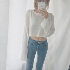 Bloombloom - Cropped Long-Sleeve T-Shirt