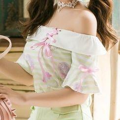 Candy Rain - Unicorn Print Striped Off Shoulder Short Sleeve Top