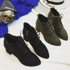 Zapatos - Faux-Suede Lace-Up Ankle Boots