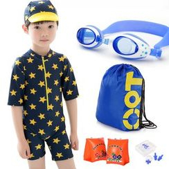 Mermaid's Tale - Kids Set: Short-Sleeve Swimsuit / Cap / Goggles / Drawstring Bag / Buoyancy Sleeves / Earplugs